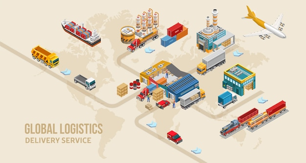 Struktura usługi dostarczania gruntów na mapie świata Premium Wektorów