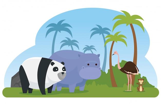 Struś z dzikimi zwierzętami panda i hipopotam Darmowych Wektorów