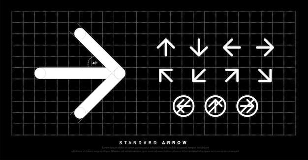 Strzałka ikona nowoczesny standard piktogram okrągłe oznakowanie Premium Wektorów