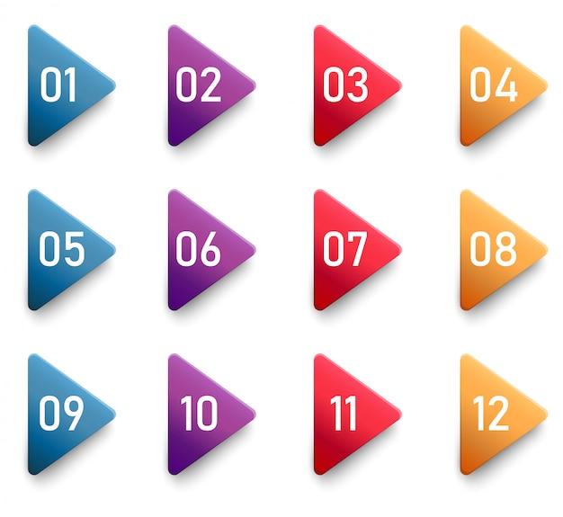 Strzałki Punktor Trójkąt Flagi Z Kolorowym Gradientem. Premium Wektorów