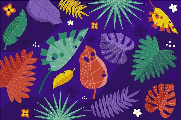 Stubarwny Tropikalny Liścia Tło Z Kwiatami Darmowych Wektorów