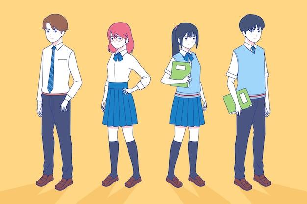 Studenci Japońskich Nastolatków W Stylu Manga Darmowych Wektorów