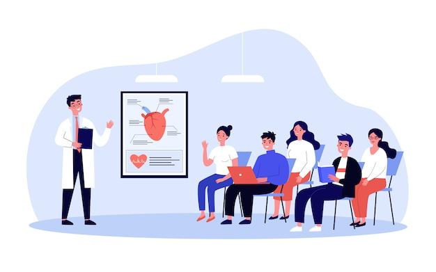 Studenci Medycyny Słuchający Wykładu Doktora Premium Wektorów
