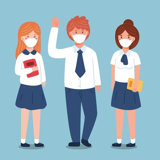 Studenci W Masce Darmowych Wektorów