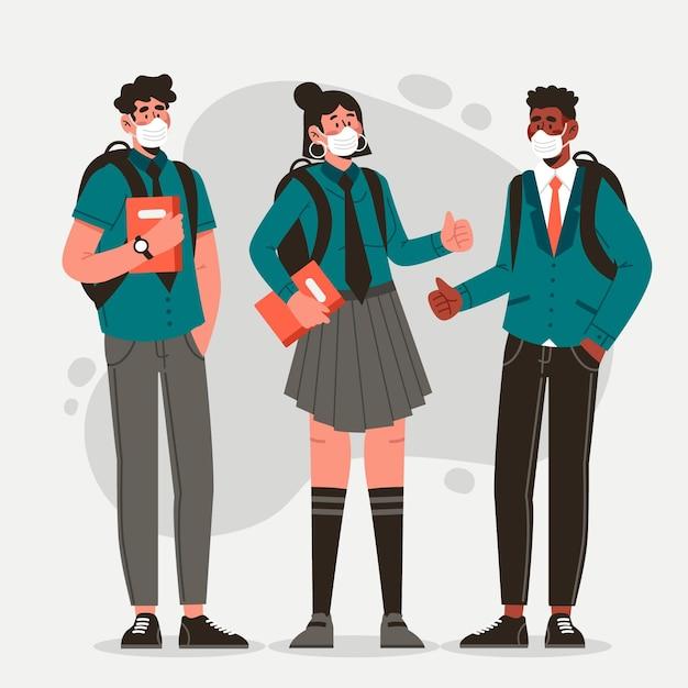 Studenci W Maskach Na Twarz Darmowych Wektorów