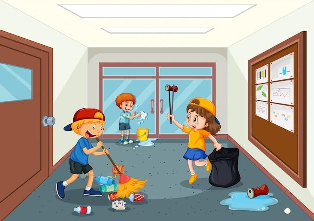 Studencki korytarz do sprzątania szkoły Premium Wektorów