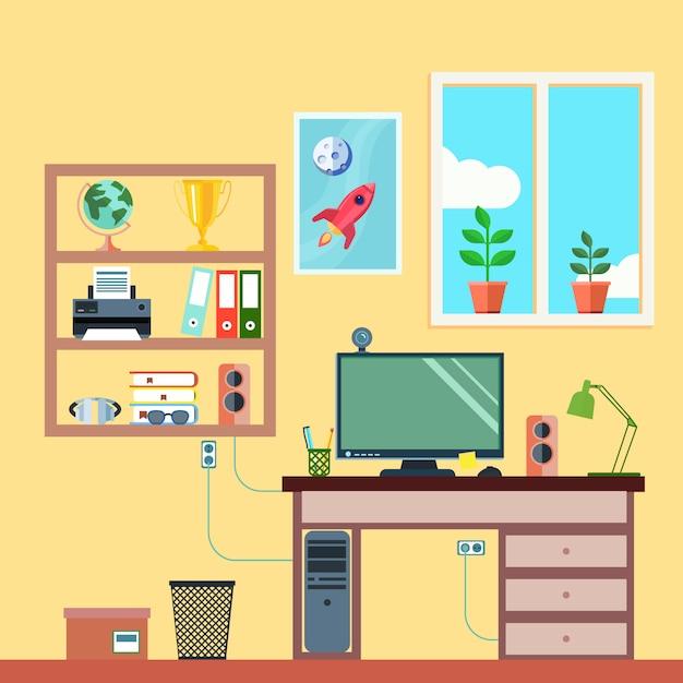 Studencki lub freelance pracujący workspace w izbowym wewnętrznym mieszkaniu Darmowych Wektorów