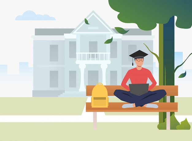 Studencki Studiowanie I Używać Laptop Na ławce W Kampusu Parku Darmowych Wektorów
