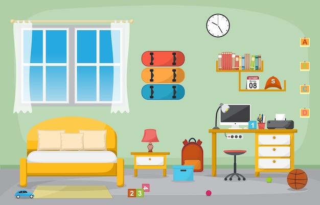 Studenckie studium stół biurkowy sypialnia wnętrze meble pokojowe Premium Wektorów