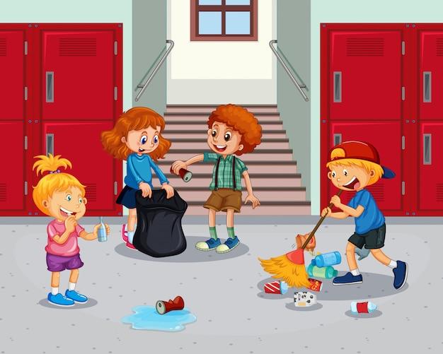 Student czyści szkolny korytarz Premium Wektorów