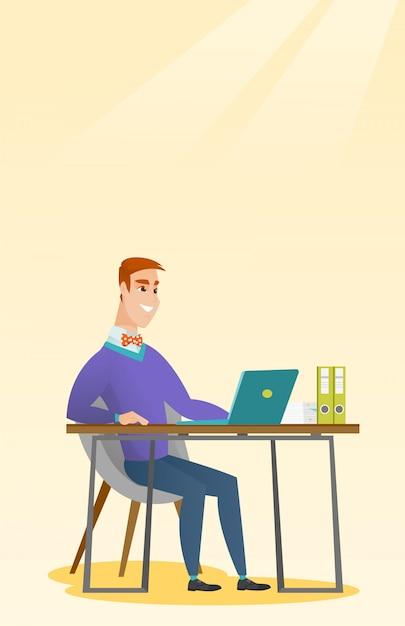 Student Używający Laptopa Do Edukacji. Premium Wektorów