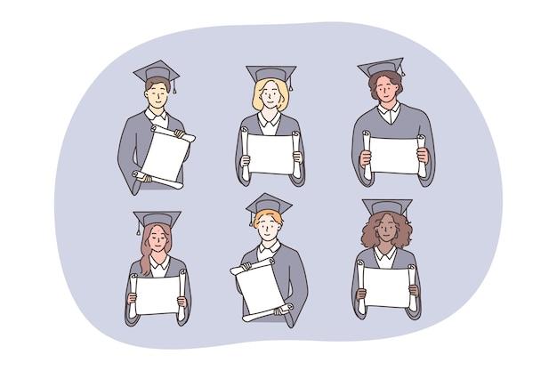 Studia, Ukończenie Szkoły, Koncepcja Zestawu Dyplomów. Premium Wektorów