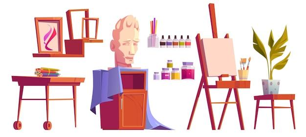 Studio Artystyczne Ze Sztalugami, Farbami, Pędzlami I Kredkami Na Drewnianym Biurku Darmowych Wektorów