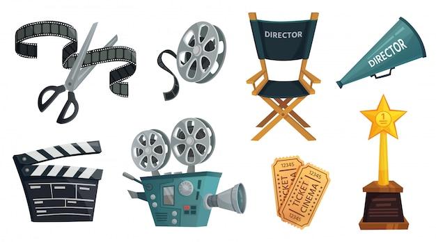 Studio Filmów Rysunkowych. Kinowa Kamera Wideo, Film Clapperboard I Reżyser Megafon Zestaw Ilustracji Premium Wektorów