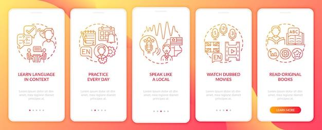 Studiowanie Wskazówek Językowych Wprowadzających Zestaw Ekranów Stron Aplikacji Mobilnej Premium Wektorów