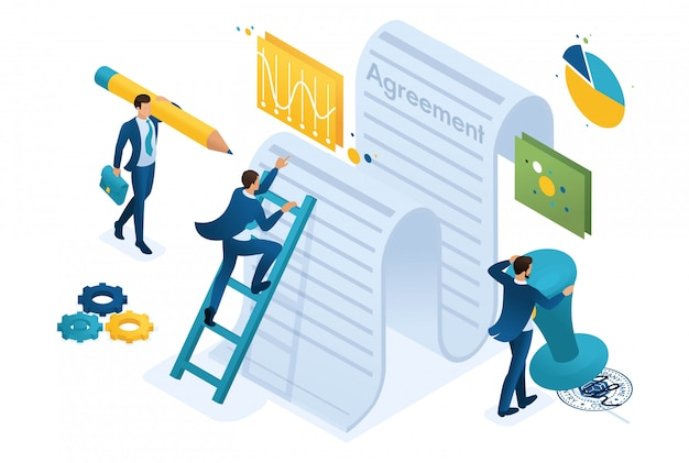 Studium Izometryczne Tekstu Umowy Przez Pracowników Firmy I Podpisanie Umowy. Premium Wektorów