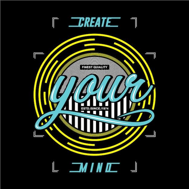 Stwórz koszulkę z graficznym wzornictwem umysłu Premium Wektorów