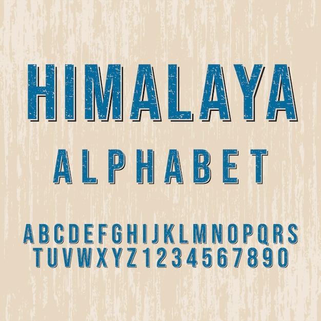 Styl Alfabetu Himalajskiego. Nowoczesna Czcionka Dekoracyjna. Zestaw Liter I Cyfr. Premium Wektorów