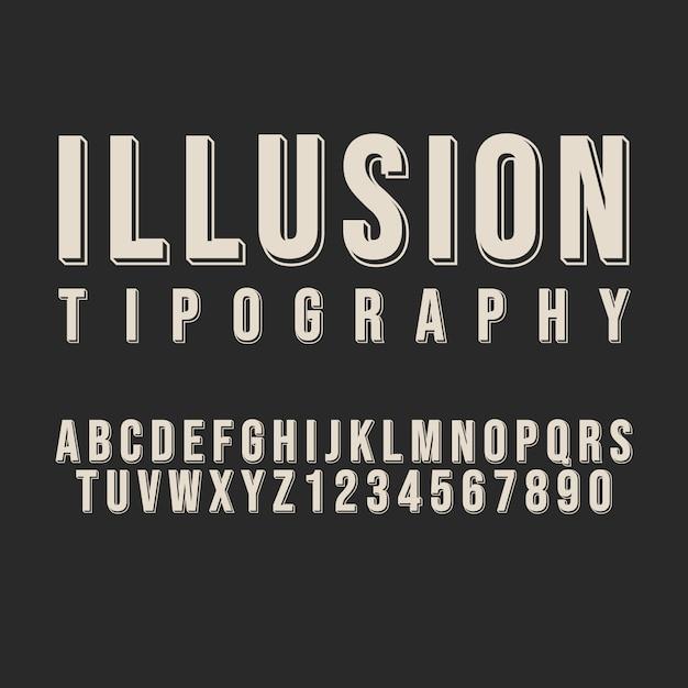 Styl Alfabetu Iluzji Typografii. Ozdobne Czcionki Nowoczesnej Czcionki. Zestaw Liter I Cyfr. Premium Wektorów