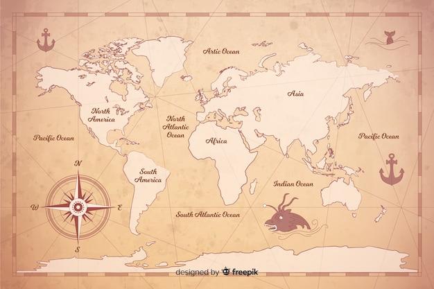Styl Cyfrowej Mapy świata W Stylu Vintage Darmowych Wektorów