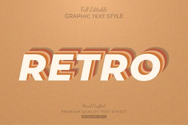 Styl Czcionki Retro Vintage Edytowalny Efekt Tekstowy Premium Wektorów