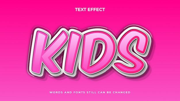 Styl Elegancki Edytowalny Tekst Kreskówkowy Dla Dzieci, Nowoczesny Efekt Komiksowy Tekstu 3d Premium Wektorów