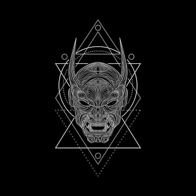 Styl geometrii maski demona Premium Wektorów