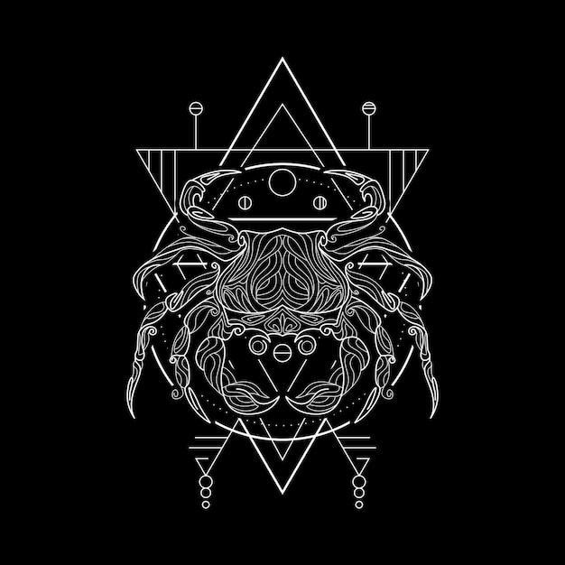 Styl Geometrii Raka Zodiaku Premium Wektorów