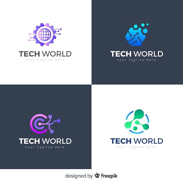 Styl gradientu kolekcji logo technologii Darmowych Wektorów