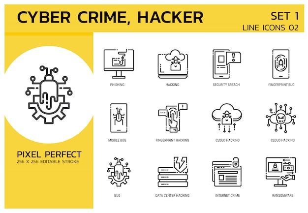 Styl Ikon Linii. Atak Hakerów Cyberprzestępczość Premium Wektorów