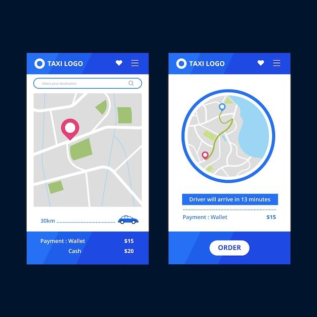 Styl Interfejsu Aplikacji Taxi Darmowych Wektorów