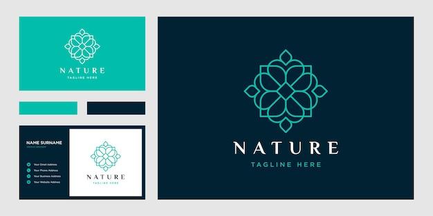 Styl Linii Kwiatowej. Luksusowe Koło Logo I Szablon Wizytówki Premium Wektorów