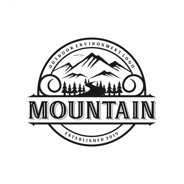 Styl Monogram Rocznika Logo Górskich Premium Wektorów