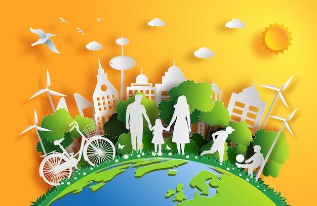 Styl Papierowy Rodziny Cieszy Się świeżym Powietrzem W Parku. Premium Wektorów