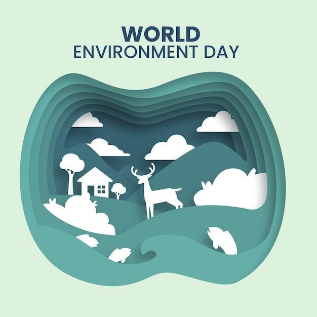 Styl Papieru Na Dzień środowiska Słowo Darmowych Wektorów