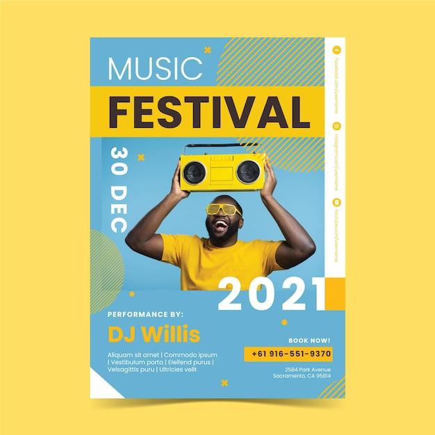 Styl Plakatu Festiwalu Muzycznego Darmowych Wektorów