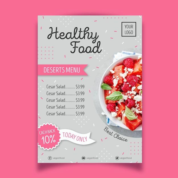 Styl Plakatu Restauracji Zdrowej żywności Darmowych Wektorów