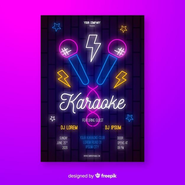 Styl Płaski Plakat Karaoke Darmowych Wektorów