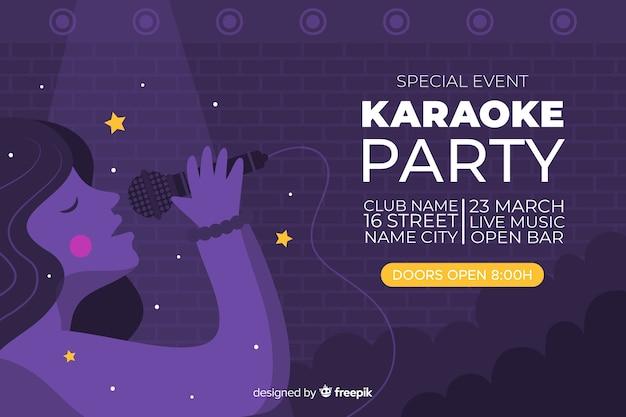 Styl płaski szablon transparent karaoke Darmowych Wektorów