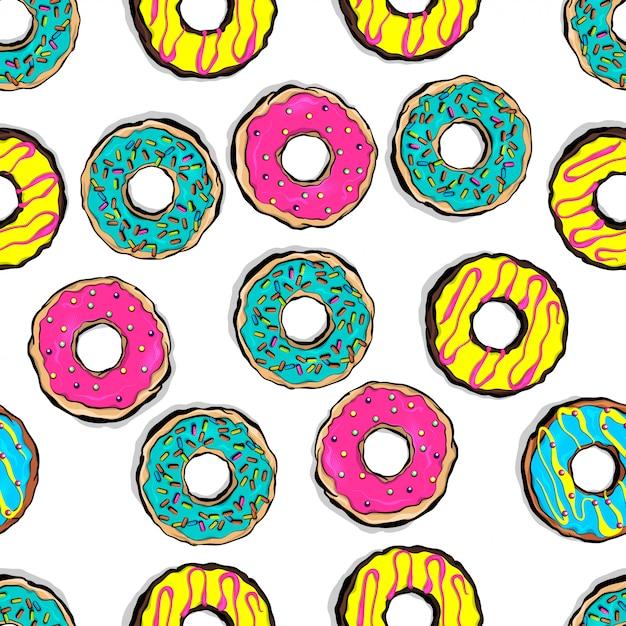 Styl Pop-art Przeszklone Kolorowe Pączki Wzór Premium Wektorów