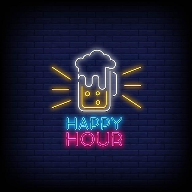 Styl tekstu happy hour neony Premium Wektorów