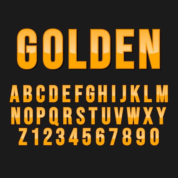 Styl Typografii Złoty Alfabet. Ozdobne Czcionki Nowoczesnej Czcionki. Zestaw Liter I Cyfr. Premium Wektorów