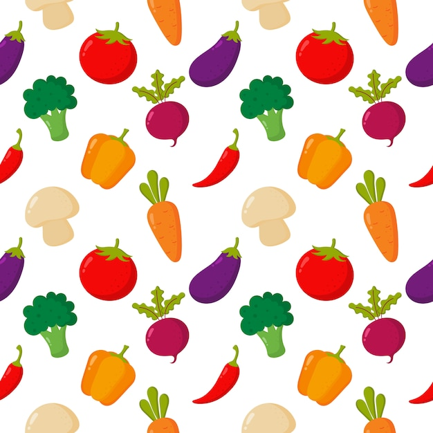 Styl warzywo wzór kreskówka na białym tle. Premium Wektorów