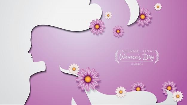 Styl Wycinanki Z Plakatu Z Okazji Międzynarodowego Dnia Kobiet I Niektóre Kwiaty. Premium Wektorów