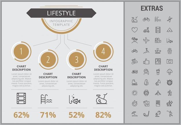 Styl życia infographic szablon, elementy i ikony Premium Wektorów
