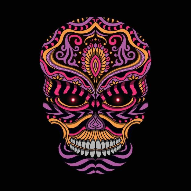 Stylizowana czaszka w stylu etnicznym Premium Wektorów