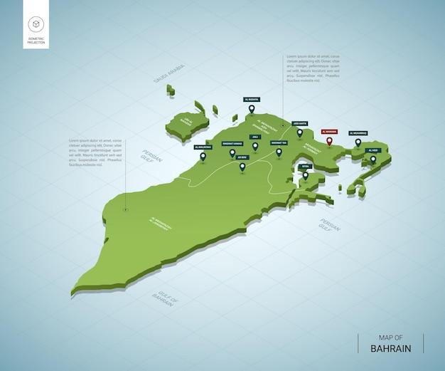 Stylizowana Mapa Bahrajnu. Izometryczna Zielona Mapa 3d Z Miastami, Granicami, Stolicą Manamą I Regionami. Premium Wektorów