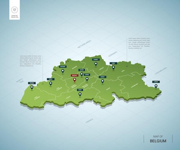 Stylizowana Mapa Belgii. Izometryczna Zielona Mapa 3d Z Miastami, Granicami, Stolicą Brukseli I Regionami. Premium Wektorów