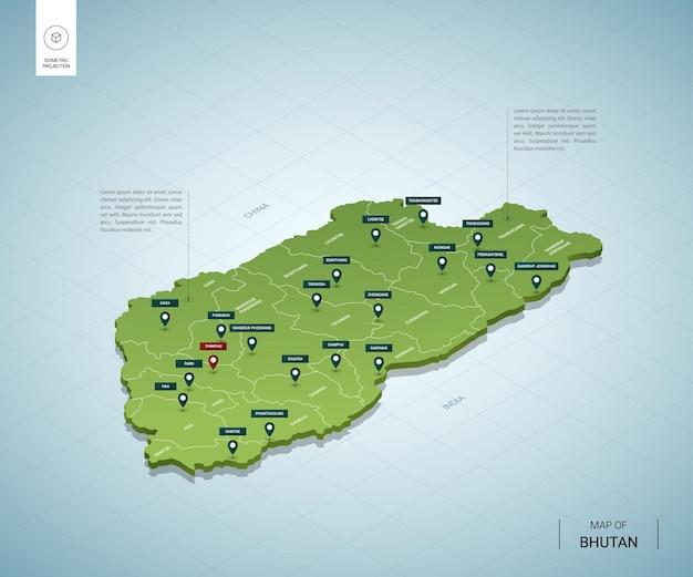 Stylizowana Mapa Bhutanu. Izometryczna Zielona Mapa 3d Z Miastami, Granicami, Stolicą Thimphu I Regionami. Premium Wektorów