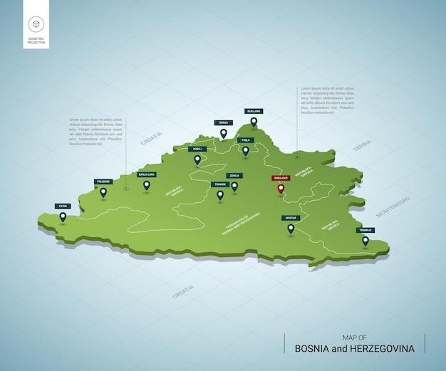 Stylizowana Mapa Bośni I Hercegowiny. Izometryczna Zielona Mapa 3d Z Miastami, Granicami, Stolicą Sarajewo I Regionami. Premium Wektorów